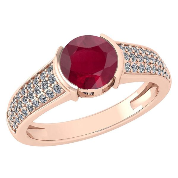 Certified 1.58 Ctw Ruby And Diamond 14K Rose Gold Halo