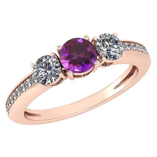 Certified 1.06 Ctw Amethyst And Diamond Wedding/Engagem