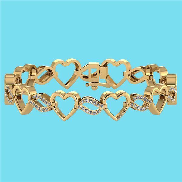 Certified 0.55 Ctw SI1/I2 Diamond 18K Yellow Gold Brace