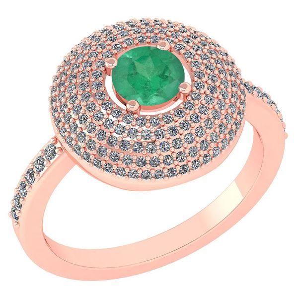 Certified 0.99 CTW Emerald And Diamond 14k Rose Gold Ha