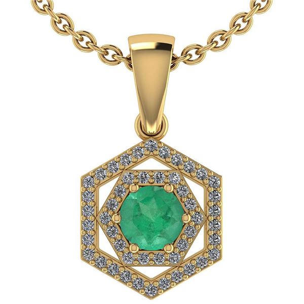 Certified 0.69 Ctw Emerald And Diamond 18K Yellow Gold