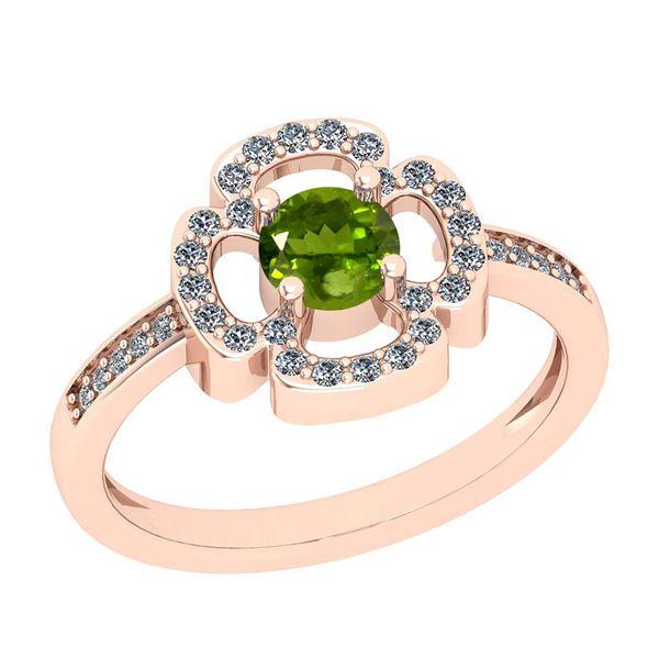 Certified 0.68 Ctw I2/I3 Peridot And Diamond 10K Rose G