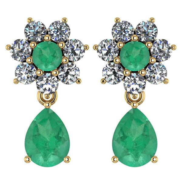Certified 4.86 Ctw Emerald And Diamond 14k Yellow Gold