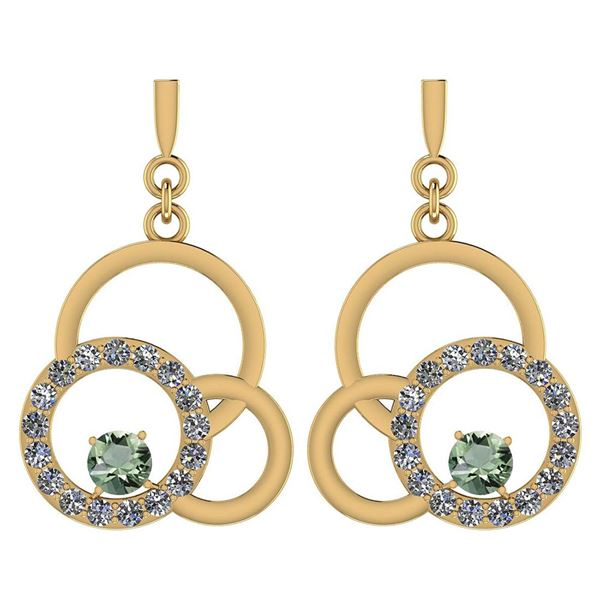 Certified 0.75 Ctw Green Amethyst And Diamond VS/SI1 Ea