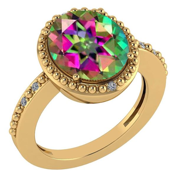 Certified 2.56 Ctw Mystic Topaz And Diamond VS/SI1 Ring