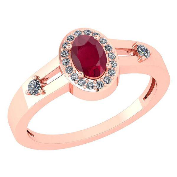 Certified 0.65 Ctw Ruby And Diamond 14k Rose Gold Halo