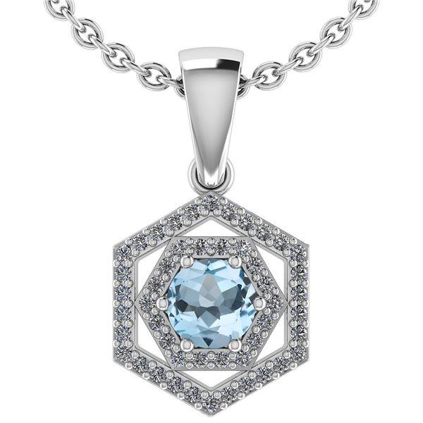 Certified 0.69 Ctw Aquamarine And Diamond 14k White Gol