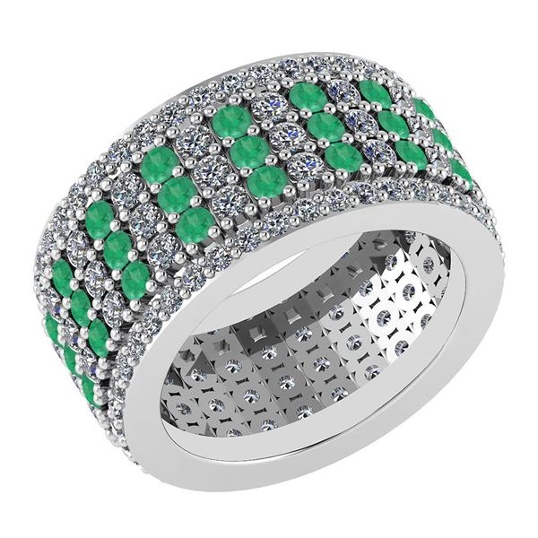 Certified 3.36 Ctw Emerald And Diamond 18K White Gold H