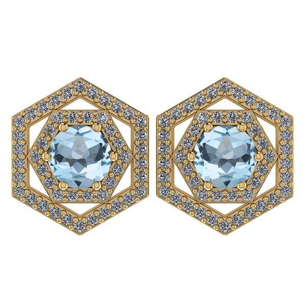 Certified 1.38 Ctw Aquamarine And Diamond 18k Yellow Go