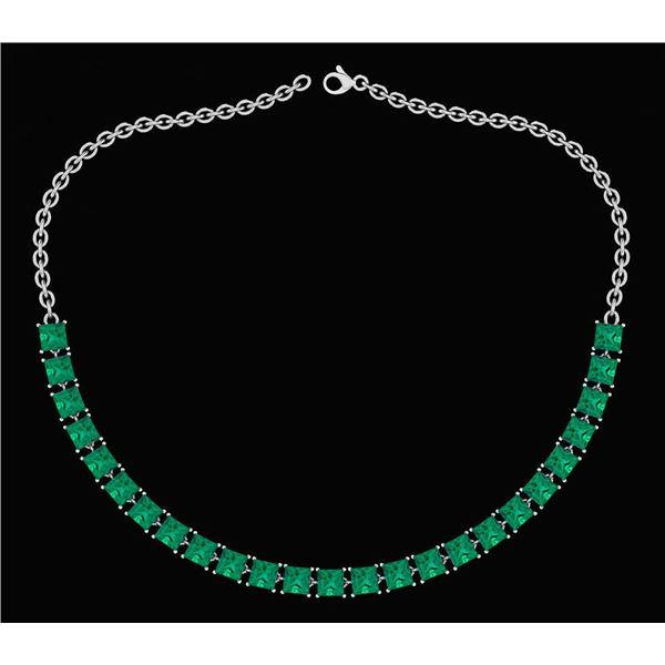Certified 18.75 Ctw Emerlad Princess Shape Necklace For