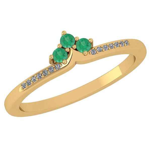 Certified 0.13 Ctw Emerald And Diamond 14k Yellow Gold