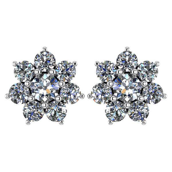 Certified 1.86 Ctw Diamond 14k White Gold Halo Stud Ear