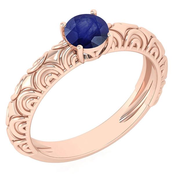 Certified 0.45 Ctw Blue Sapphire Solitaire Ring 14K Ros