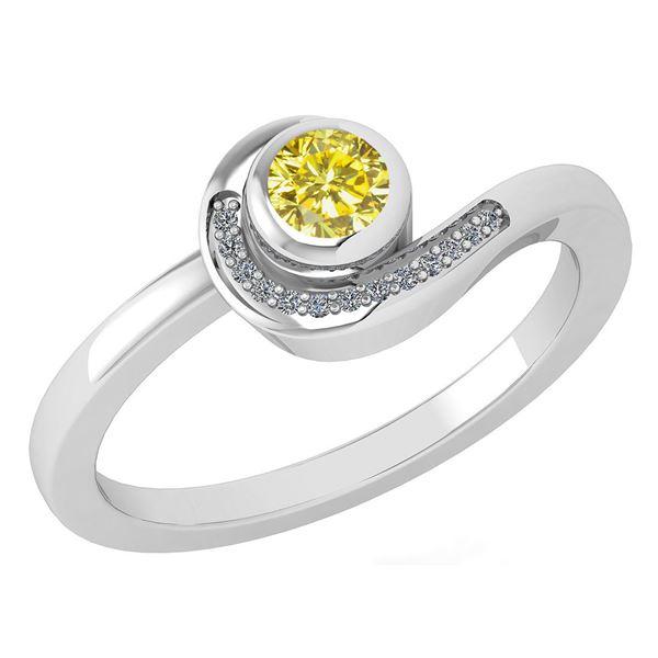 Certified 0.31 Ctw Fancy Yellow Diamond 14K White Gold