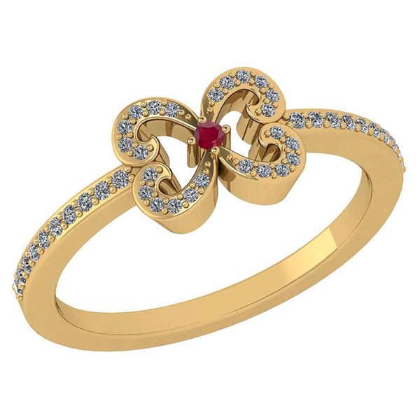 Certified 0.24 Ctw Ruby And Diamond 14k Yellow Gold Hal