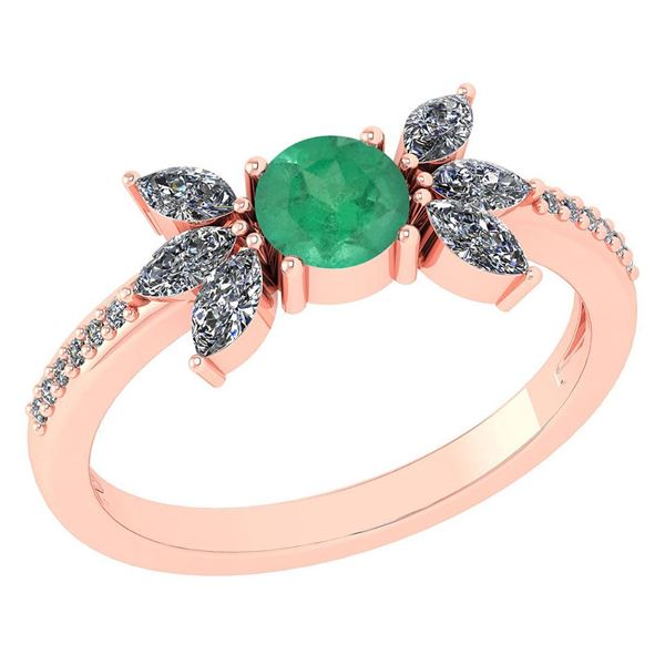 Certified 1.11 Ctw Emerald And Diamond 14k Rose Gold Ha