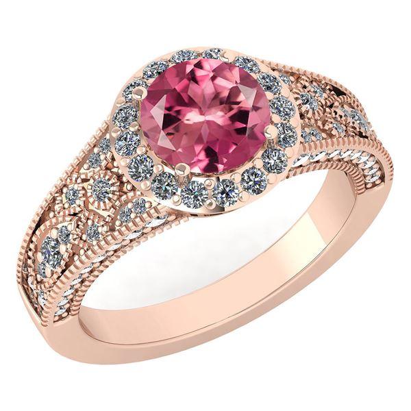 Certified 1.89 Ctw Pink Tourmaline And Diamond Wedding/