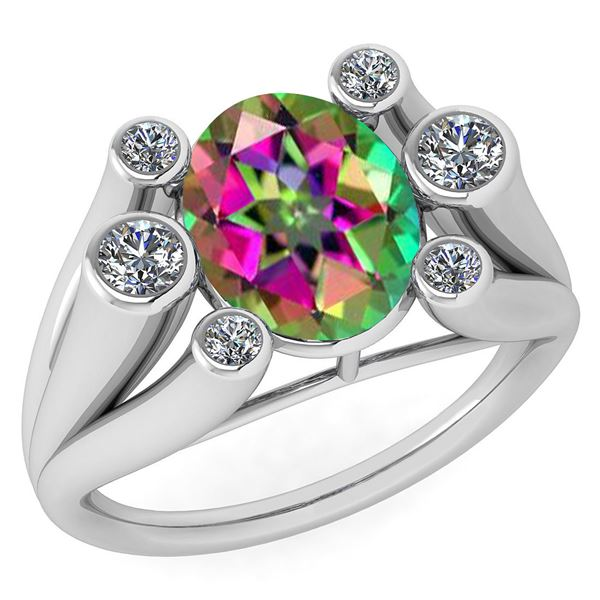 Certified 2.82 Ctw Mystic Topaz And Diamond VS/SI1 Ring