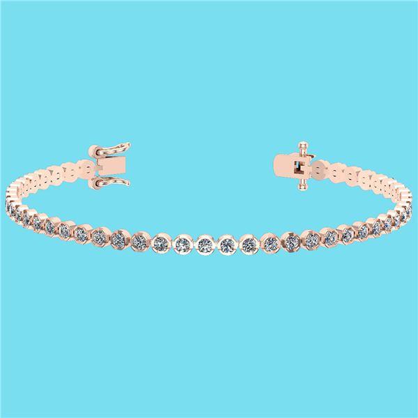 Certified 2.60 Ctw SI2/I1 Diamond 14K Rose Gold Bracele