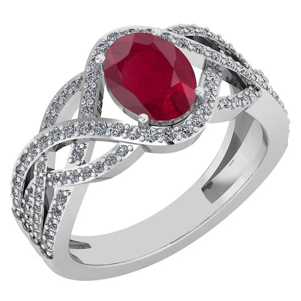 Certified 1.79 Ctw Ruby And Diamond VS/SI1 Ring 14K Whi