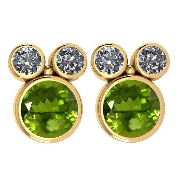 Certified 3.14 Ctw Peridot And Diamond VS/SI1 Earrings