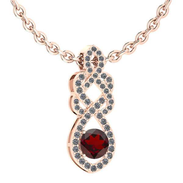 Certified 1.26 Ctw Garnet And Diamond VS/SI1 Necklace 1
