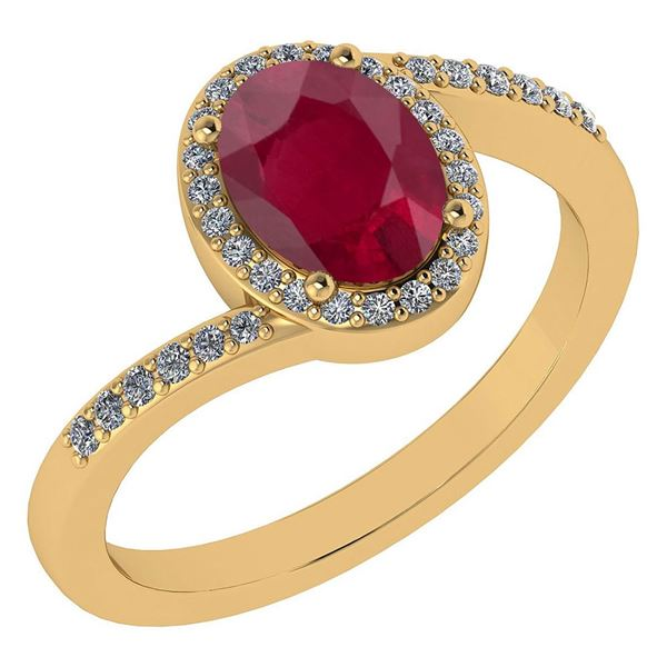 Certified 1.44 Ctw Ruby And Diamond 14k Yellow Gold Hal