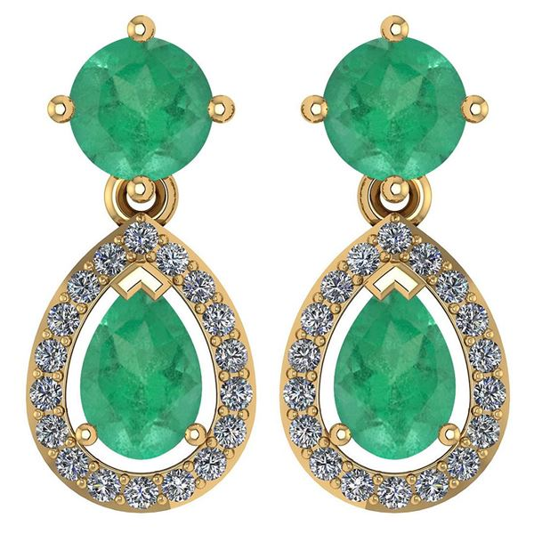 Certified 2.19 CTW Emerald And Diamond 14k Yellow Gold