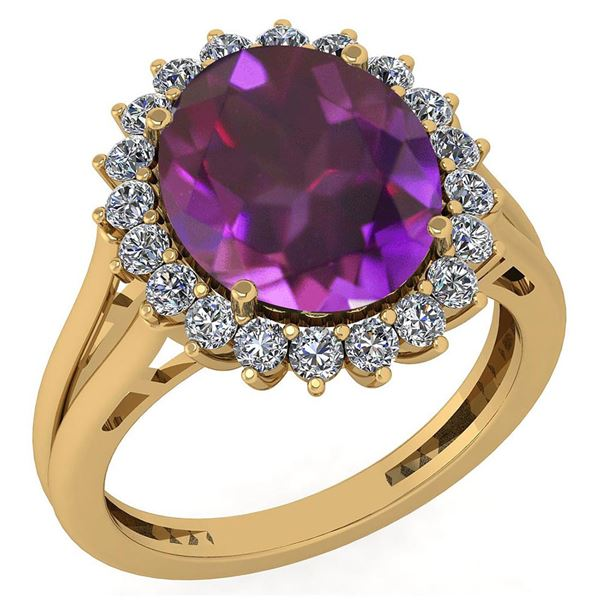 Certified 5.65 Ctw Amethyst And Diamond VS/SI1 Halo Rin