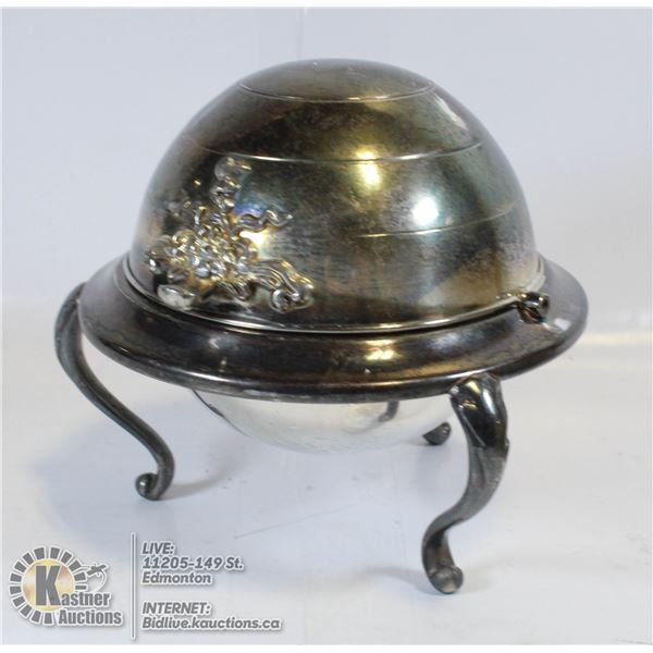 ANTIQUE FOOTED SILVER PLATE