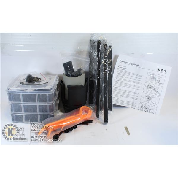ASSORTED FLAT W/ UNIVERSAL BEVERAGE HOLDER AND BOL