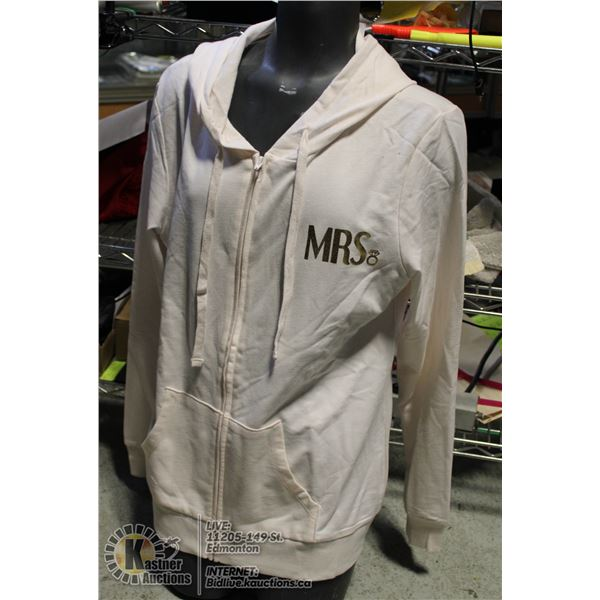"""NEW MODERN LUX LIGHT PINK """"MRS"""" HOODIE WITH TAGS"""