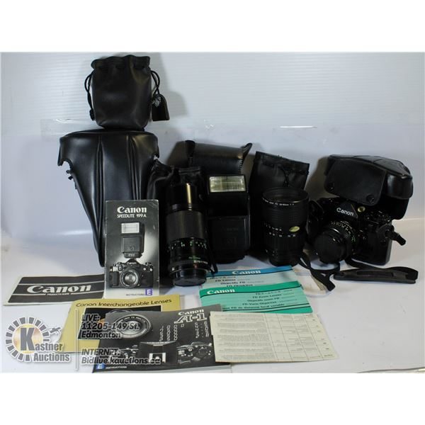VINTAGE CANON A-1 FILM CAMERA WITH MULTIPLE