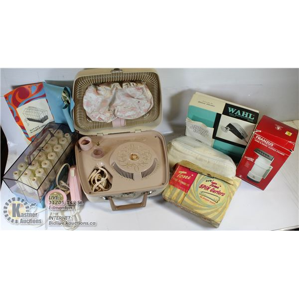 VINTAGE BEAUTY LOT- HAIR DRYER/ELECTRIC CURLERS