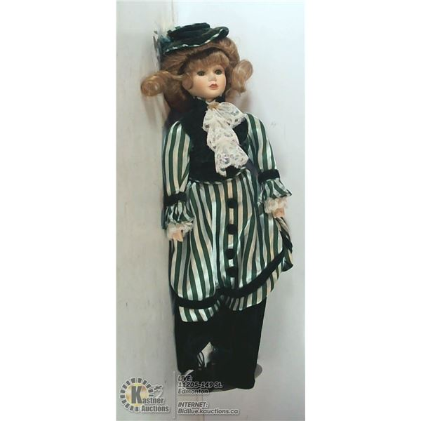 """18"""" DOLL ON STAND WITH GREEN DRESS"""