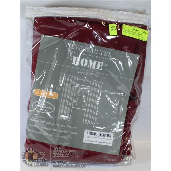 2 PANEL CURTAINS THERMAL INSULATED BURGANDY COLOUR