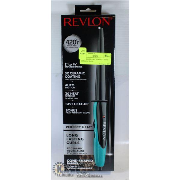 REVLON CERAMIC PERFECT HEAT CURLING IRON-