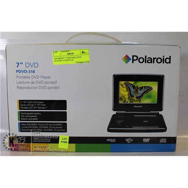 """POLAROID 7"""" PORTABLE DVD PLAYER- # PDVD-318"""