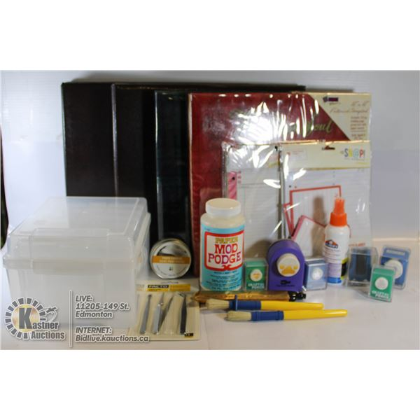 SCRAPBOOKING SUPPLIES- LOT OF STAMPS, PUNCHES,