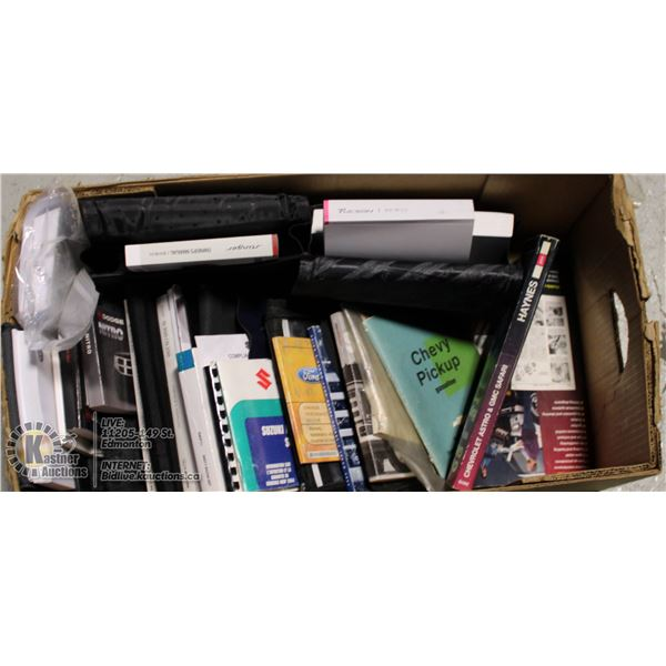 LARGE BOX FULL OF VEHICLE OWNER'S MANUALS