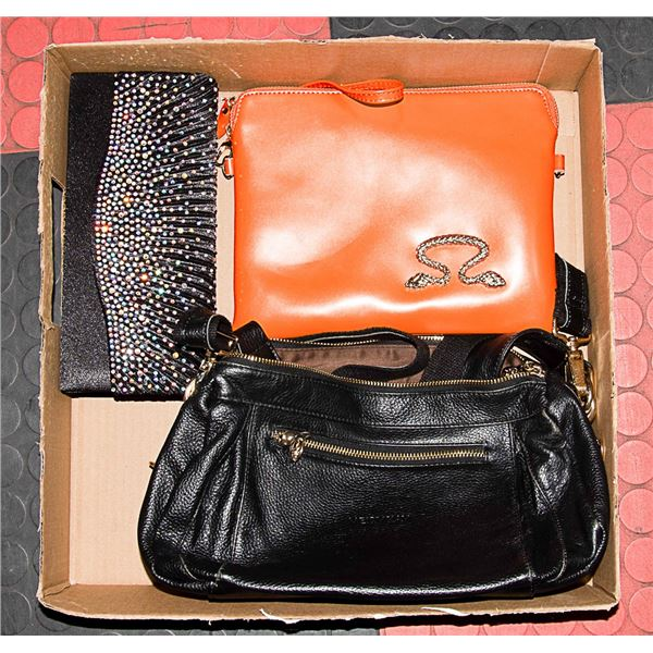 3 PURSES / BAGS ORANGE, BLACK, AND BLACK CLUTCH