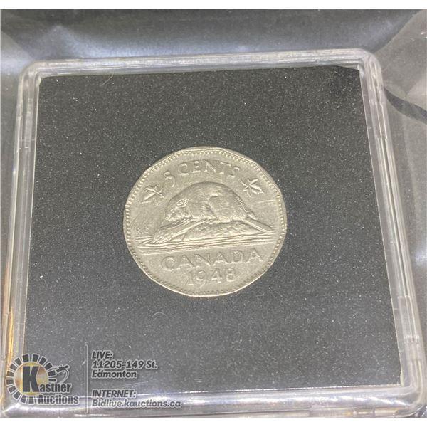 1948 SEMI-KEY DATE GEORGE VI 5 CENT