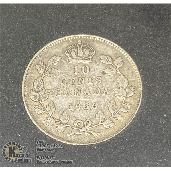 1936 GEORGE V CANADA SILVER 10 CENT