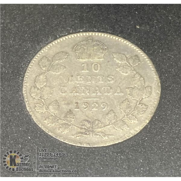 1929 GEORGE V CANADA SILVER 10 CENT