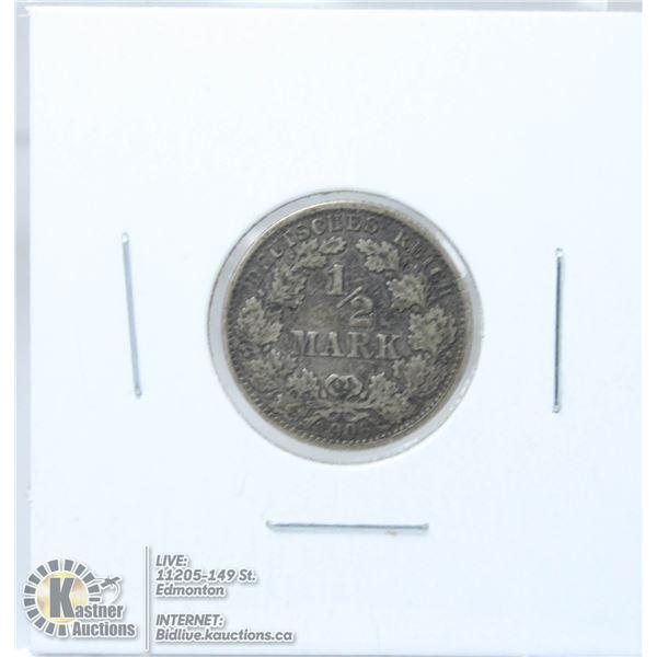 1906A GERMANY SILVER 1/2 MARK