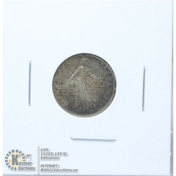 1918 WW1 ISSUE FRANCE SILVER 50 CENT