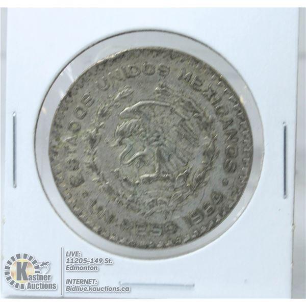1964 MEXICO SILVER 1 PESO COIN