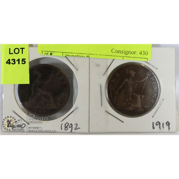 UNCLAIMED 1892 & 1919 LARGE CENTS