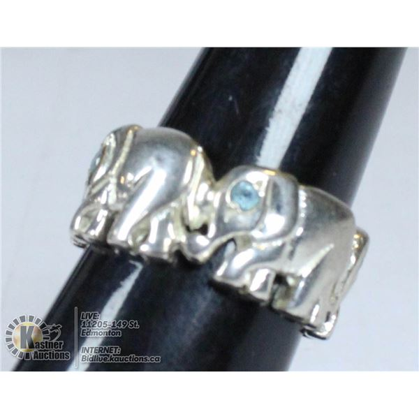 UNCLAIMED 925 SILVER LUCKY ELEPHANT RING SIZE 5