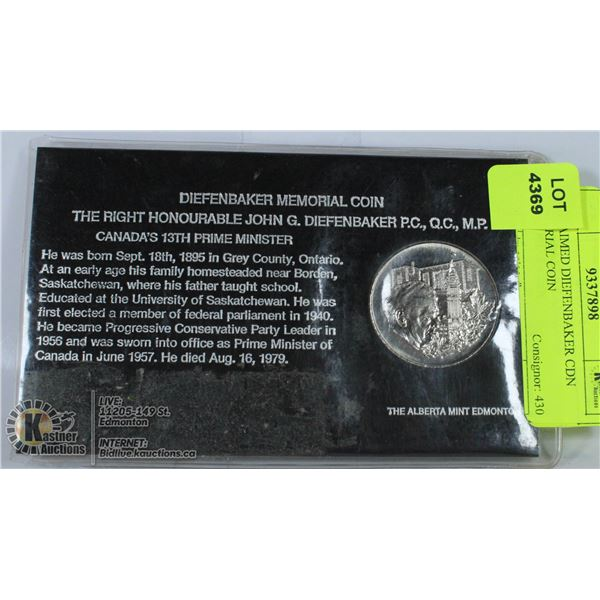 UNCLAIMED DIEFENBAKER CDN MEMORIAL COIN